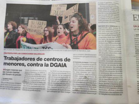 Concentración de trabajadores de centros de atención a menores frente a la DGAIA