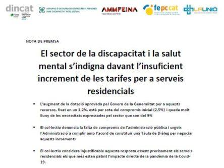 El sector de la discapacitat i la salut mental s'indigna davant l'insuficient increment de les tarifes per a serveis residencials